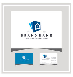 Home document logo design with business card vector