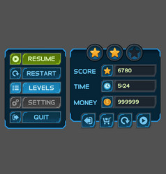 Interface buttons set for space games or apps vector