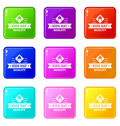 Kid hat icons set 9 color collection vector