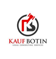legal logo design letter kb vector image