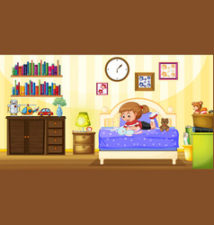 Little girl playing with doll in bedroom vector