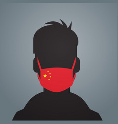 Man silhouette wearing protective mask vector