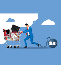 Man with debt weight pulling shopping cart vector