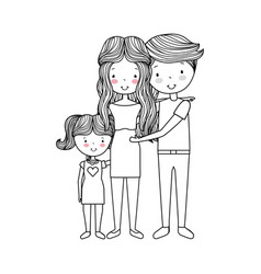 Married couple with daughter vector