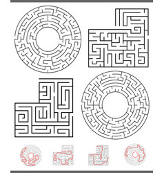 maze leisure game graphics set with lines vector image
