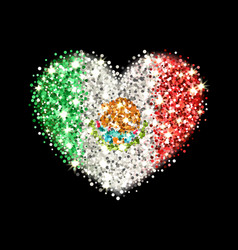 Mexico flag sparkling heart badge vector