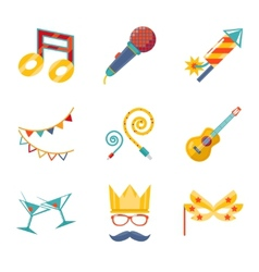 Modern trendy flat Isolated icons Gift Party vector image