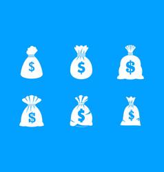 Money bag icon blue set vector