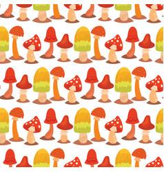 mushrooms fungus agaric toadstool different art vector image