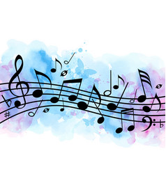 music background with notes and blue watercolor vector image