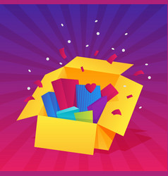 opened gift box surprise celebration event vector image