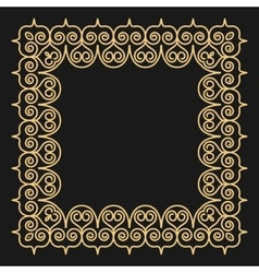 Outline style gold background Square ornamental vector image