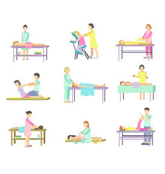 People in spa salon on procedure of vector