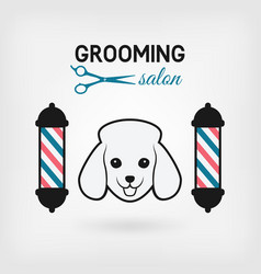 Pet grooming salon logo design vector