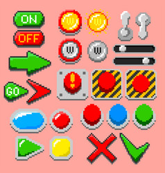 pixel art arrows buttons pilot lights pointers vector image