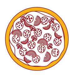 pizza icon in color sections silhouette vector image