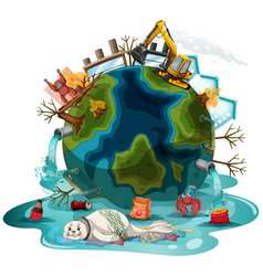 Poster design with pollutions on earth vector