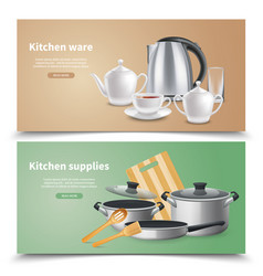 realistic kitchen supplies banners vector image
