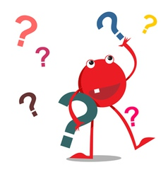 Red monster with question marks vector image