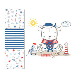 Sailor bear surface design and 3 seamless patterns vector