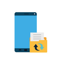 screen smartphone with folder files isolated icon vector image