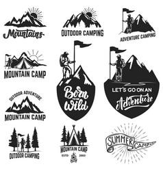 Set mountain camping outdoor adventure vector