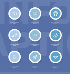 Set of 9 editable zoo outline icons includes vector