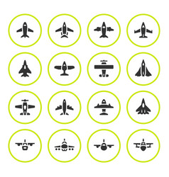 Set round icons of planes vector