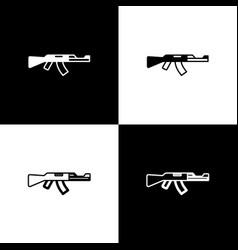 Set submachine gun icon isolated on black vector