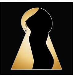 Silhouette of a woman body seen through a key hole vector image