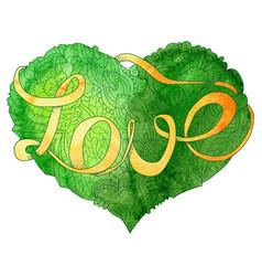 Sketchy doodle green heart vector