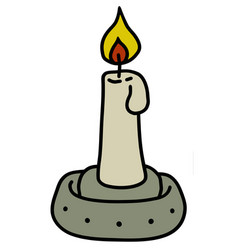 Small ceramic lamp with a candle vector
