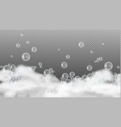 soap foam white suds shiny water bubbles vector image