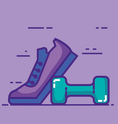 Sport tennis shoes with dumbell vector