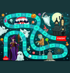 start to finish halloween board game template vector image