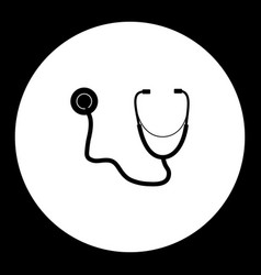 Stethoscope medical exam tool simple black icon vector