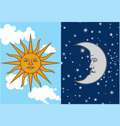 sun and crescent moon antique vector image