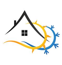 Sun snowflake and house vector