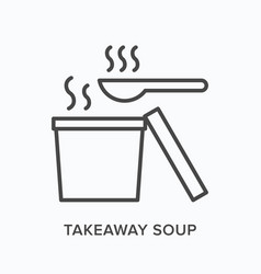 takeaway soup flat line icon outline vector image