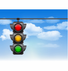 traffic lights with all three colors on hanging vector image