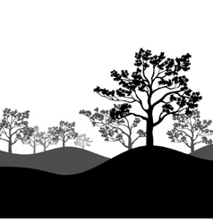 tree sakura silhouette with landscape vector image