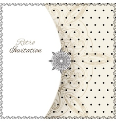 Vintage lace polka dots ornament card vector