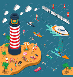 water sports isometric people poster vector image