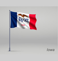 Waving flag iowa - state united states on vector