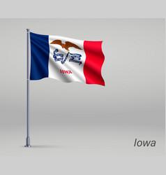 Waving flag iowa - state united states vector