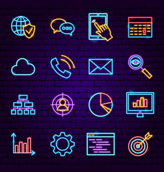 web development neon icons vector image