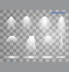 white beam lights set of different shapes and vector image