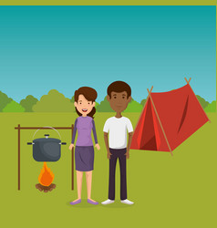 Young couple in the camping zone vector