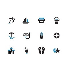 Beach duotone icons on white background vector image