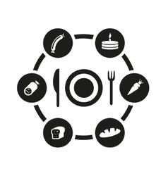 black food icon set vector image vector image